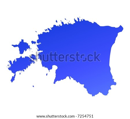 Blue gradient Estonia map. Detailed, Mercator projection.