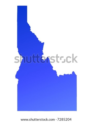 Blue gradient Idaho map, USA. Detailed, Mercator projection. - stock photo