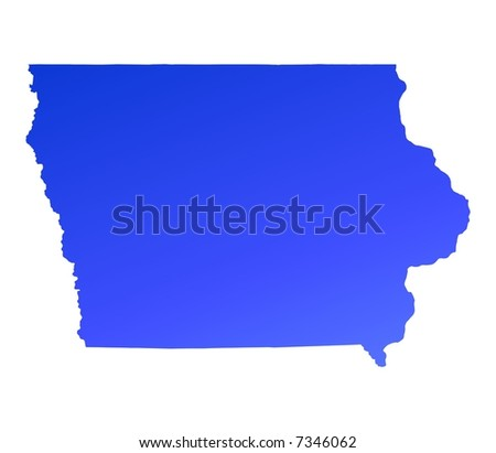 Iowa Usa Light Blue Map Shadow Stock Illustration - Iowa map us