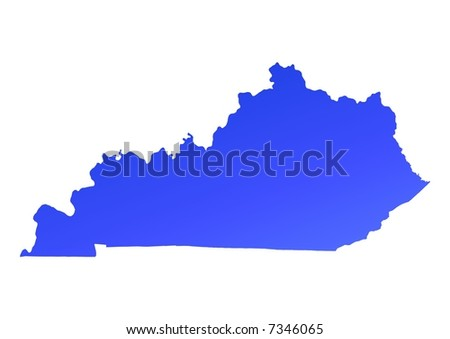 Blue gradient Kentucky map, USA. Detailed, Mercator projection.