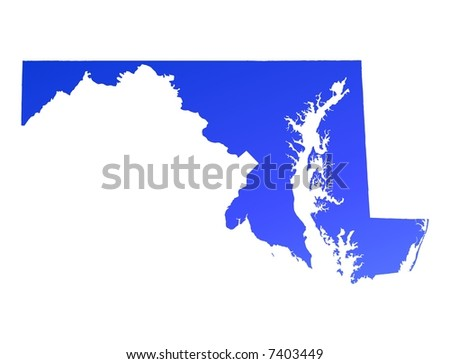 Blue Gradient Maryland Map Usa Detailed Stock Illustration - Maryland map usa