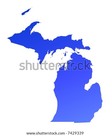 Blue gradient Michigan map, USA. Detailed, Mercator projection. - stock photo