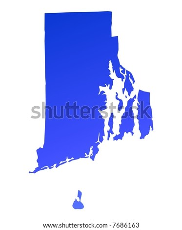 Blue gradient Rhode Island map, USA. Detailed, Mercator projection. - stock photo
