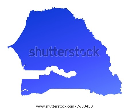 Blue gradient Senegal map. Detailed, Mercator projection.