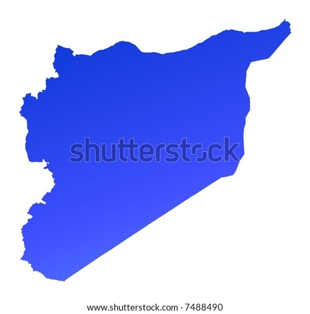 Blue gradient Syria map. Detailed, Mercator projection. - stock photo