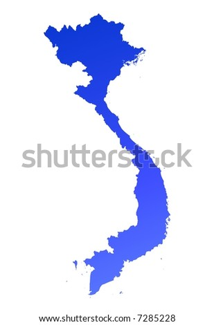 Blue gradient Vietnam map. Detailed, Mercator projection. - stock photo