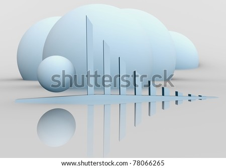 Blue Graph and Sphere. - stock photo