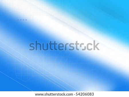 Blue graphic background.