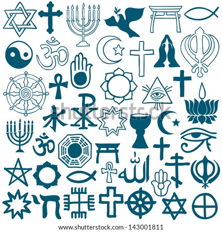 Blue graphic symbols of different religions as Christianity, Islam, Judaism, Buddhism, Jainism, Sikhism or Lamaism, on white background - stock photo
