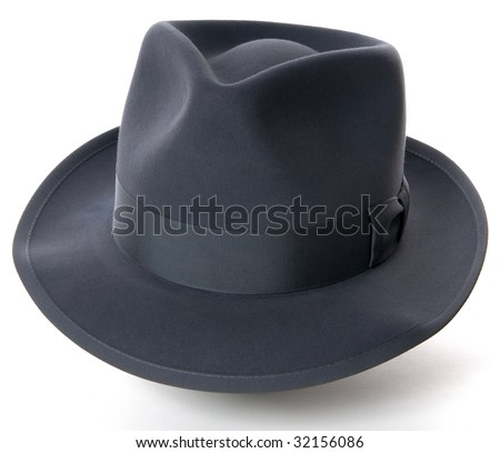 Blue-gray fedora hat on white background