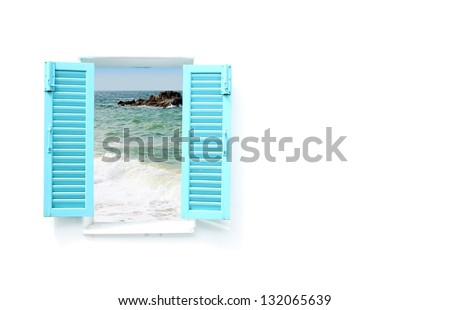 blue Greek style window with sea view - stock photo