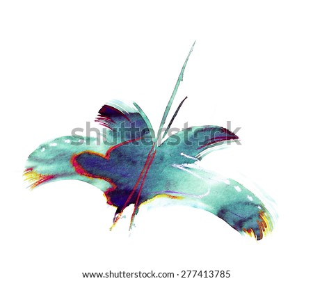 blue green abstract painting mixed technique butterfly - stock photo