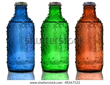 Blue, Green and Red battles on white background - stock photo