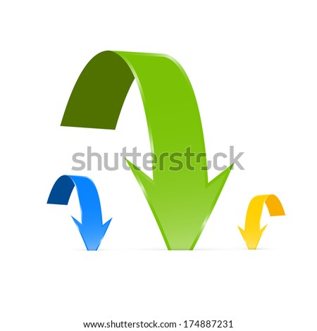 Blue, Green and Yellow Arrows Isolated on White Background