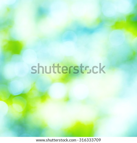 Blue, green and yellow light spots can be used for holiday abstract background - stock photo