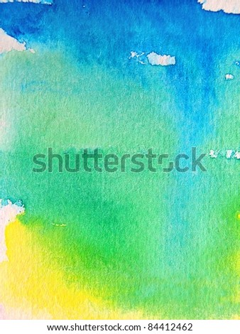 Blue Green and Yellow Watercolor Series 1 - stock photo