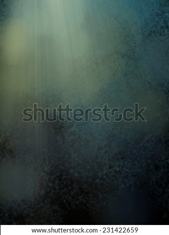 blue green background with dark black shadows, soft faint white bokeh lights and rays or beams of light, yellow sunshine coming down from heaven in streaks through the clouds - stock photo