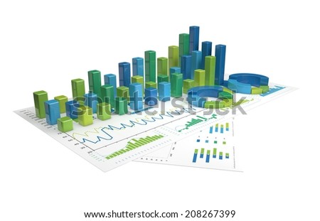 blue-green Graphs of financial analysis - Isolated - stock photo