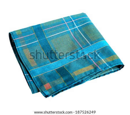 Blue green handkerchief / studio photography of nose rag - isolated on white background  - stock photo