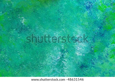 Blue green oil painting texture. High magnification. - stock photo