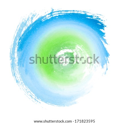 Blue Green Painted Swirl Eco Concept Symbol - stock photo