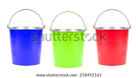 blue, green, red buckets isolated - stock photo