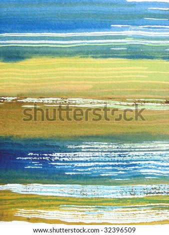 blue green watercolor brush background - stock photo