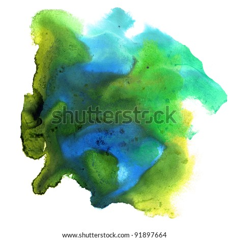 blue green watercolor colors spot texture isolated on a white background - stock photo