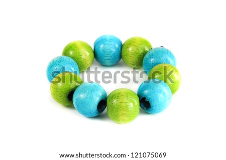 blue & green wooden beads bracelet isolated on white