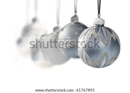 blue grey luxury christmas ornaments on white background - narrow DOF - stock photo