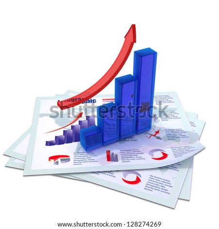 blue growing bar chart with red arrow on documents with color graph, charts, diagrams and financial data isolated on white background - stock photo