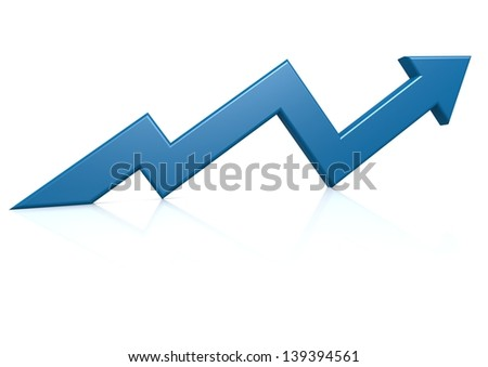 Blue growth arrow - stock photo