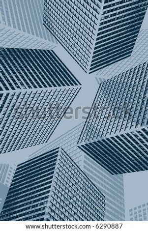 blue grunge buildings in perspective - stock photo