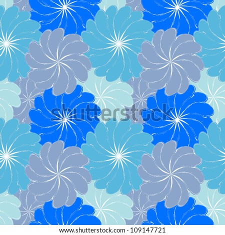 blue grunge seamless pattern with flowers (raster version of the vector)