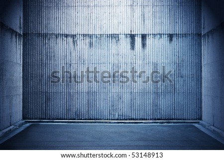 Blue grunge stone room - stock photo