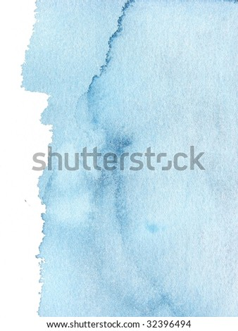 Blue grunge watercolor background - stock photo