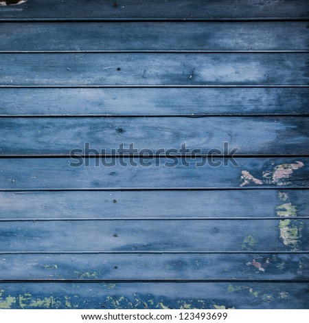 blue grunge wood plank background - stock photo