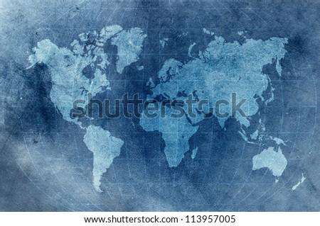blue grunge world map - stock photo