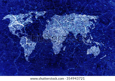 blue grunge world map with connection line - stock photo