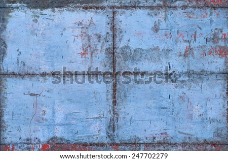 Blue Grungy Metal Texture with Seams (Part of Grungy Textures with Rusty Seams set, which includes textures that can be used together to create a huge image) - stock photo