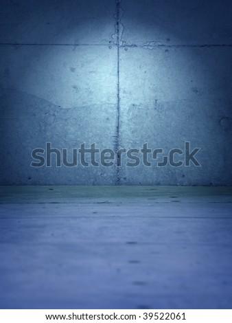 Blue grungy room - stock photo