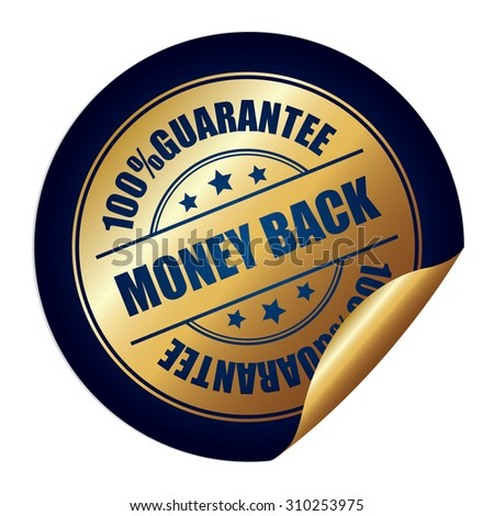 Blue 100% Guarantee Money Back Infographics Peeling Sticker, Label, Icon, Sign or Badge Isolated on White Background - stock photo