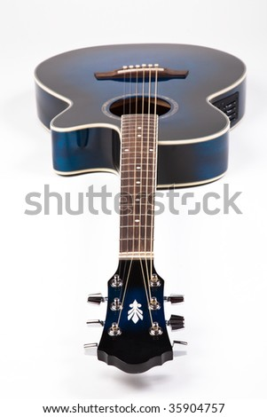 Blue guitar on white