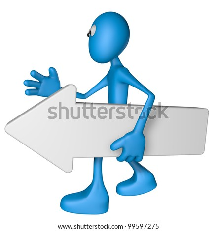 blue guy carries white arrow - 3d illustration - stock photo