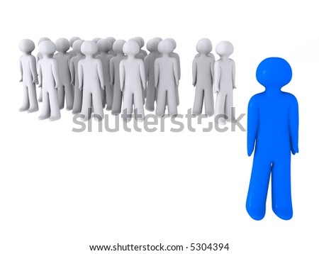 blue guy stands out