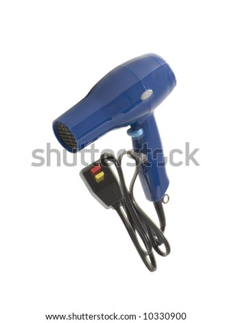 Blue Hair Dryer Set, isolated, clipping path included - stock photo
