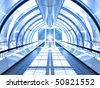 blue hall of business center - stock photo