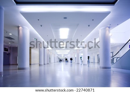 Blue hall of office centre - stock photo