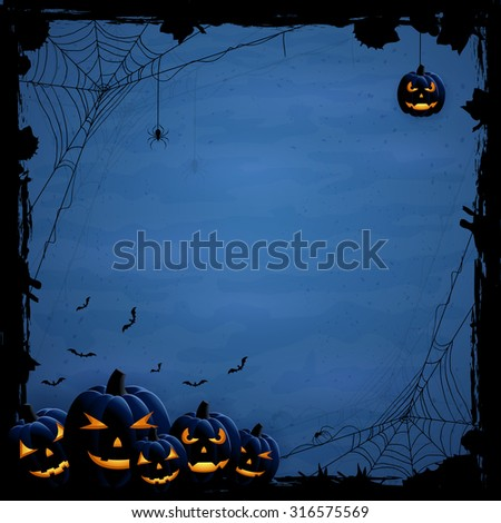 Blue Halloween background with pumpkins and spiders, illustration. - stock photo