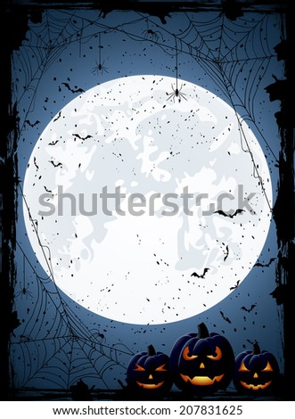 Blue Halloween night background with Moon, spiders and Jack O' Lanterns, illustration. - stock photo